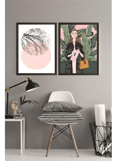 Lyn Home & Decor Gölge Gözlüklü Kadın Çerçeveli Poster 2 Li Tablo 23.5X33,5 Siyah